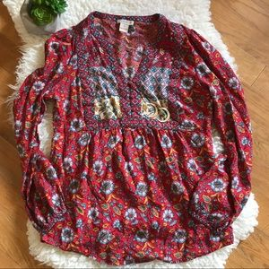LUCKY BRAND red floral shirt